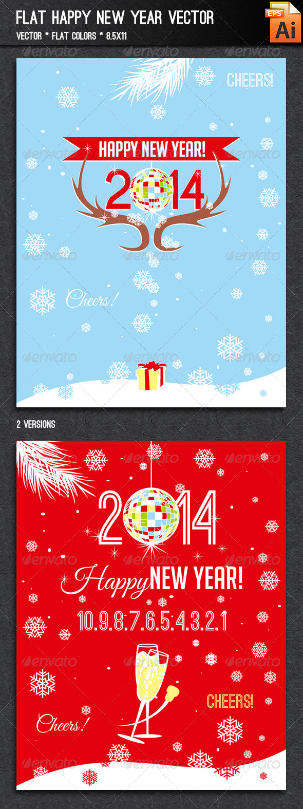 Flat Happy New Year Vector - New Year Seasons/Holidays