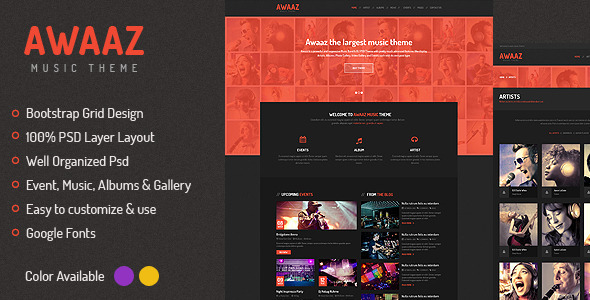 Awaaz Music PSD Template