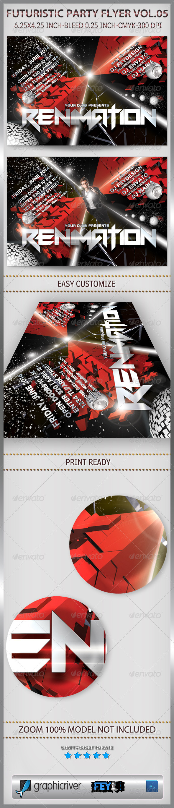Futuristic Party Flyer Vol.05 - Clubs & Parties Events