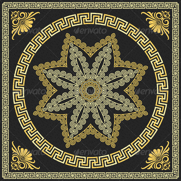 Vector Gold Greek Ornament - Patterns Decorative