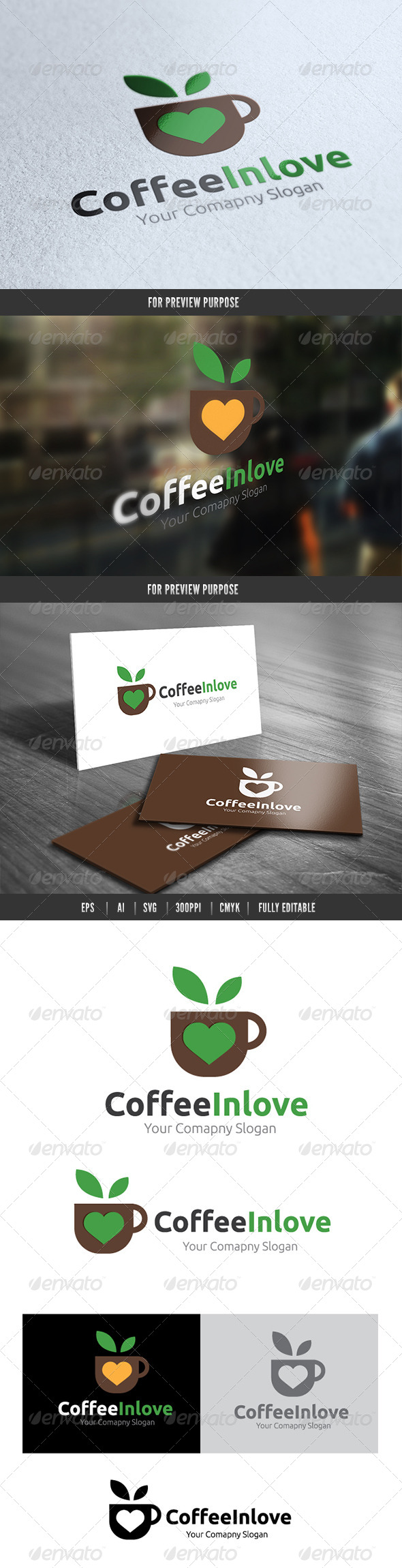 Coffee in Love  - Food Logo Templates