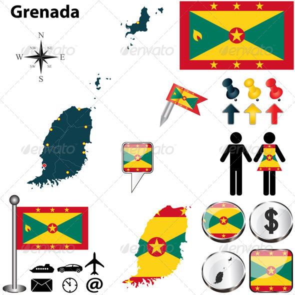 Map of Grenada - Travel Conceptual