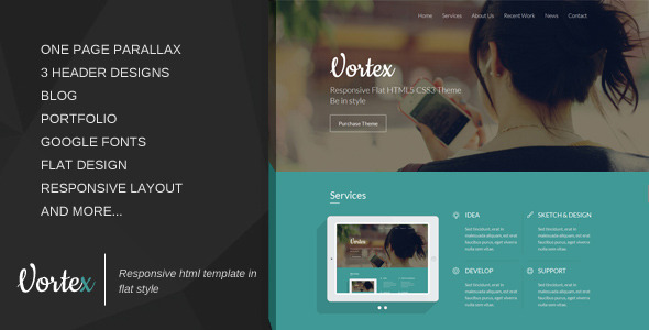 Vortex – Responsive One Page Template