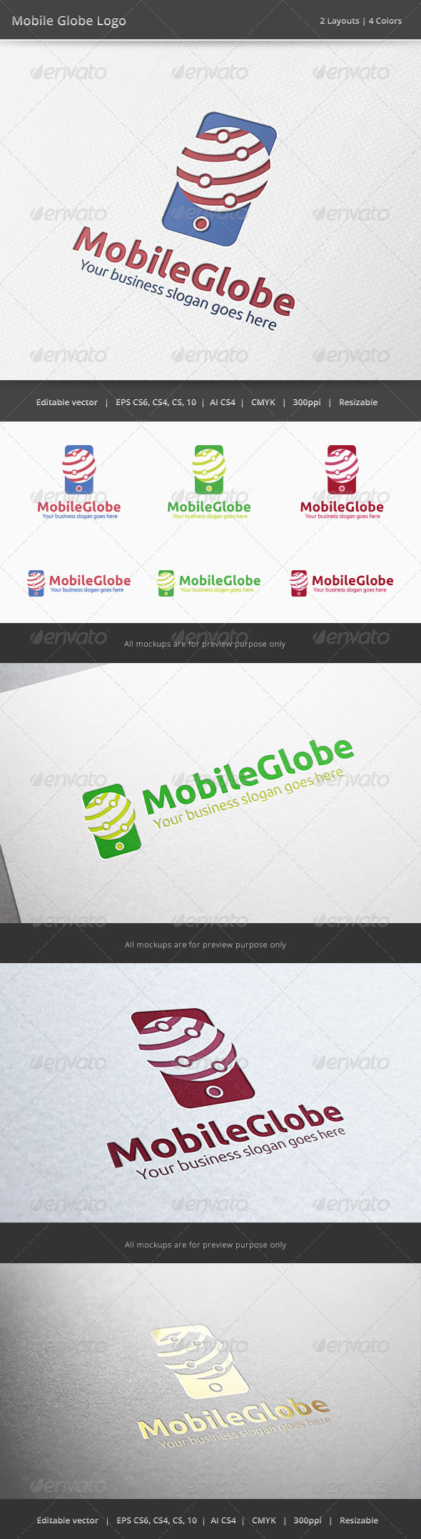 Mobile Globe Logo - Objects Logo Templates