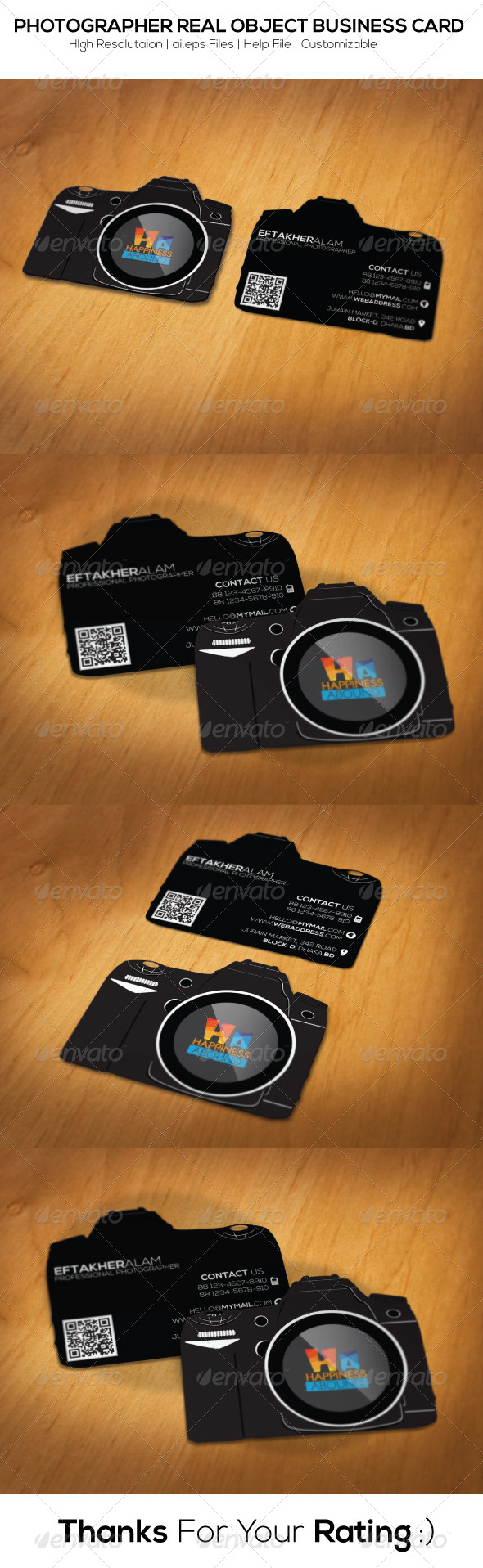 Photographer Real Object Business Card - Real Objects Business Cards