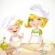 Mom and Daughter Baking Cookies  - GraphicRiver Item for Sale