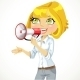 Girl Speaks in a Megaphone - GraphicRiver Item for Sale