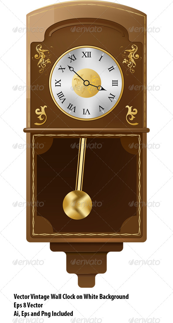 Vintage Wall Clock - Objects Vectors