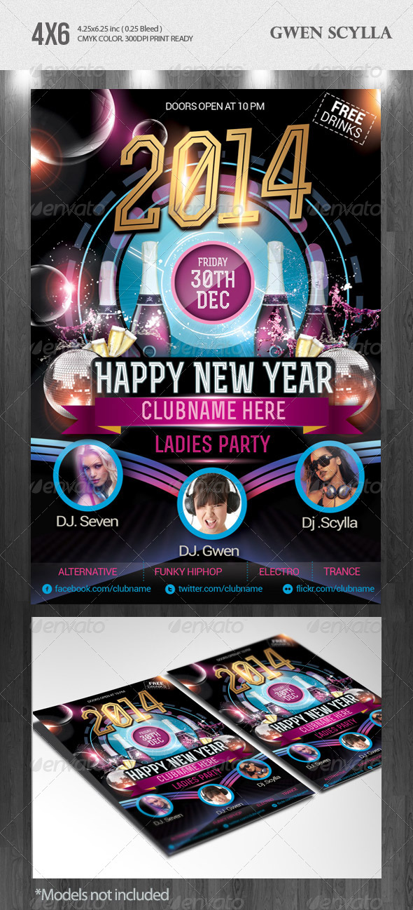 Happy New Year 2014 DJs Event Flyer Templates - Clubs & Parties Events