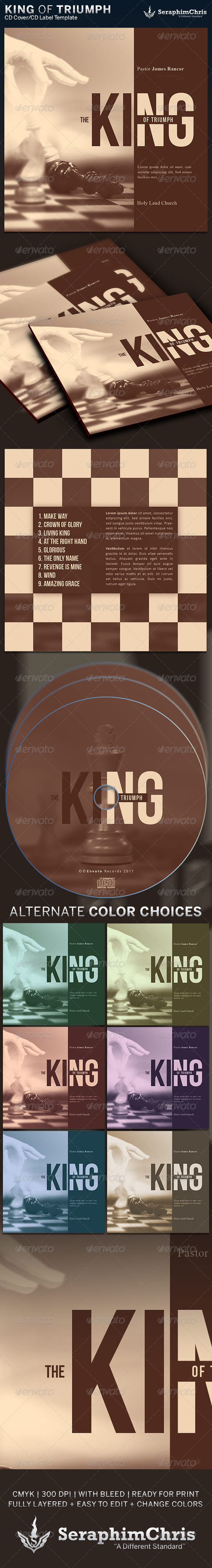 King of Triumph: CD Cover Artwork Template - CD & DVD Artwork Print Templates