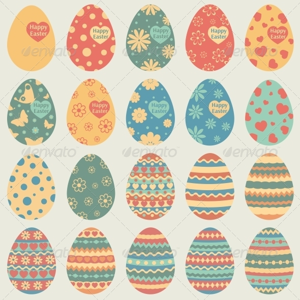 Easter Eggs Icons - Decorative Symbols Decorative