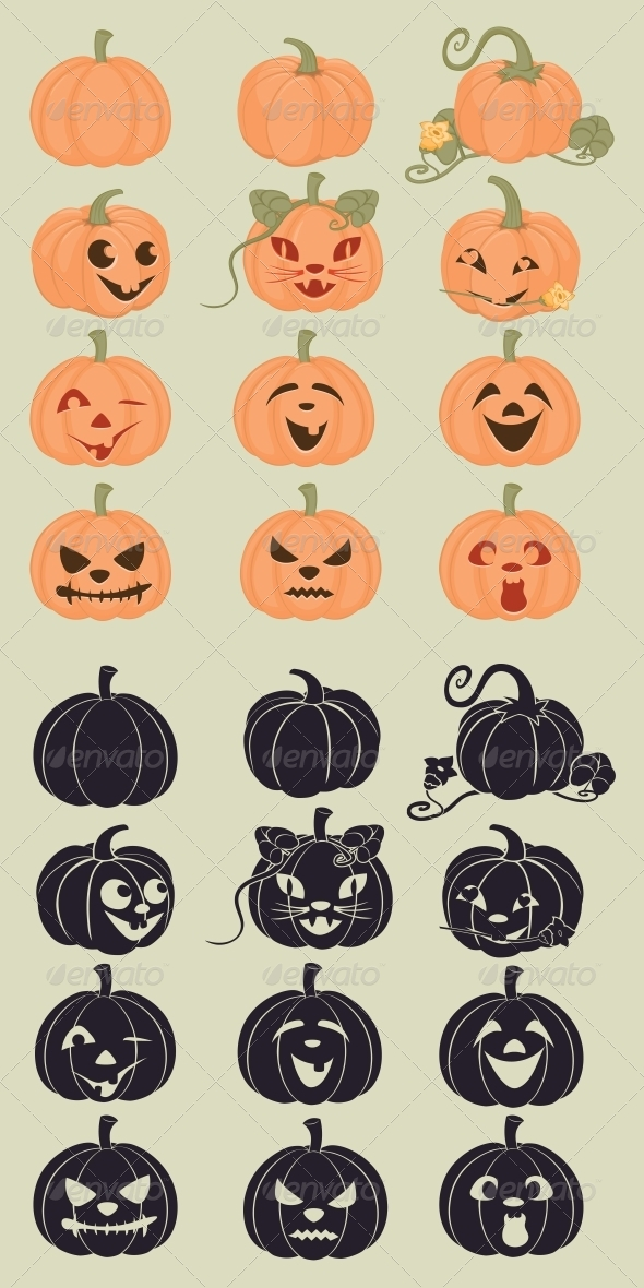 Pumpkins Icons - Halloween Seasons/Holidays