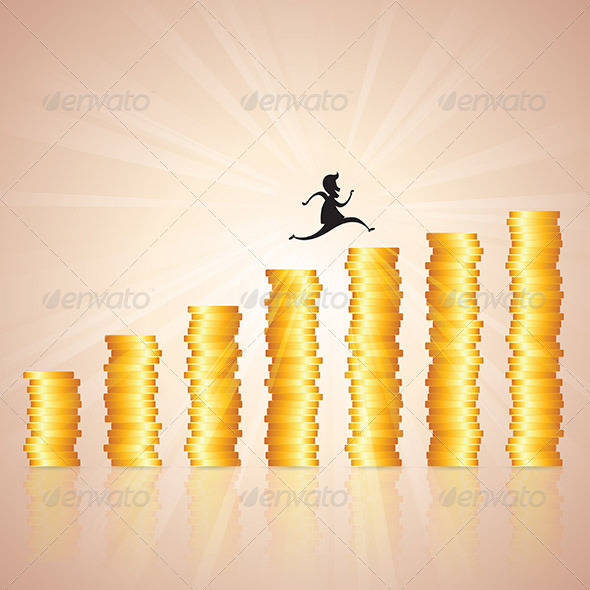 Hopping on Gold Coin Ladder - Concepts Business