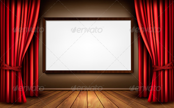 Background with Red Velvet Curtain and a Screen - Backgrounds Decorative