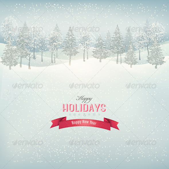 Holiday Background with Winter Landscape - New Year Seasons/Holidays