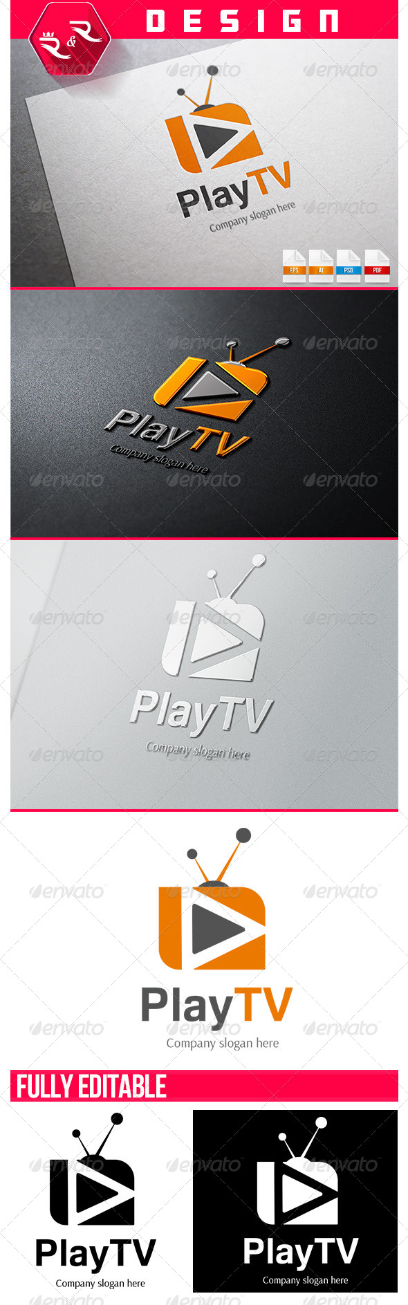 Play Tv Logo - Objects Logo Templates