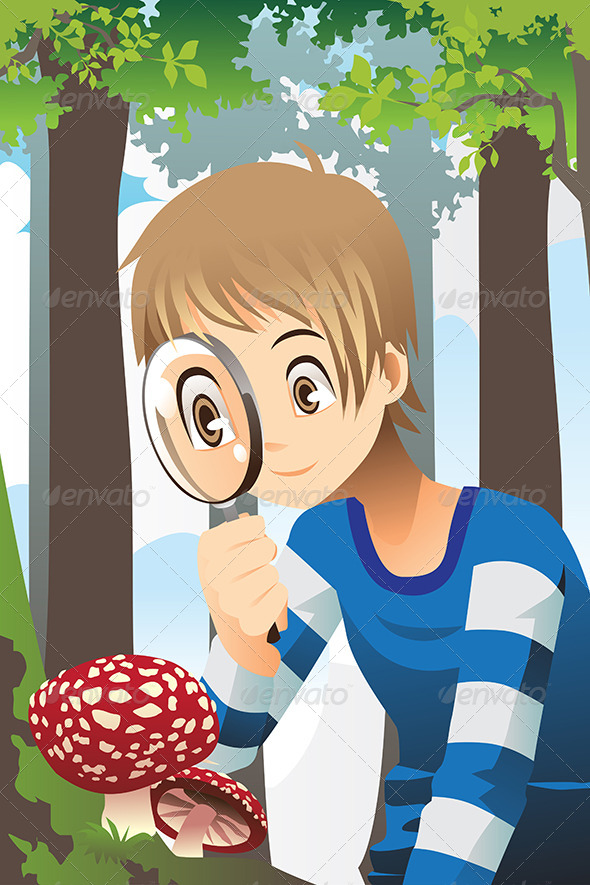 Boy with Magnifying Glass - People Characters