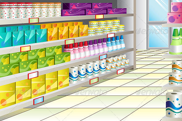 Grocery Store Aisle - Objects Vectors