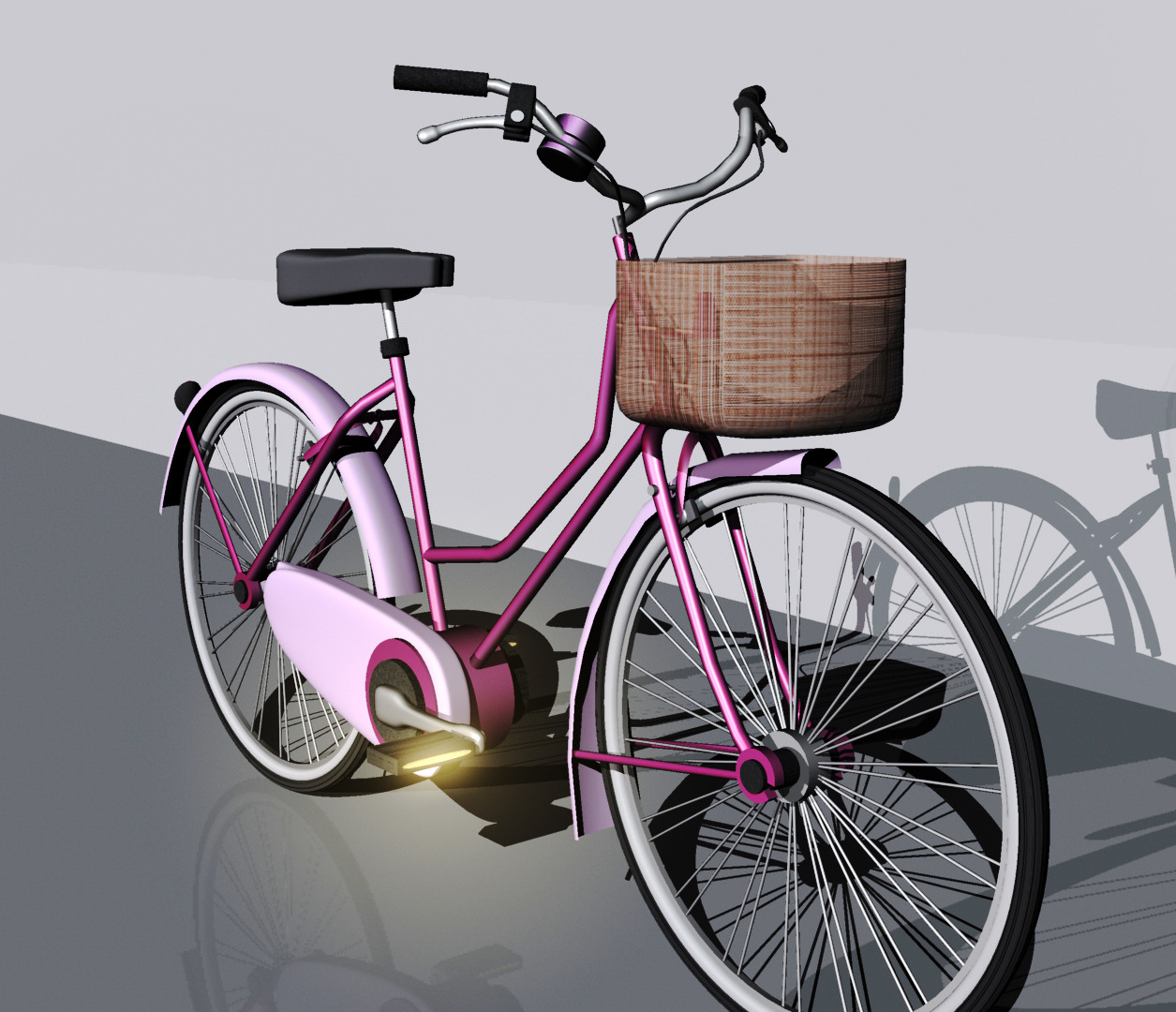 Woman Old Style Bicycle - 3DOcean Item for Sale