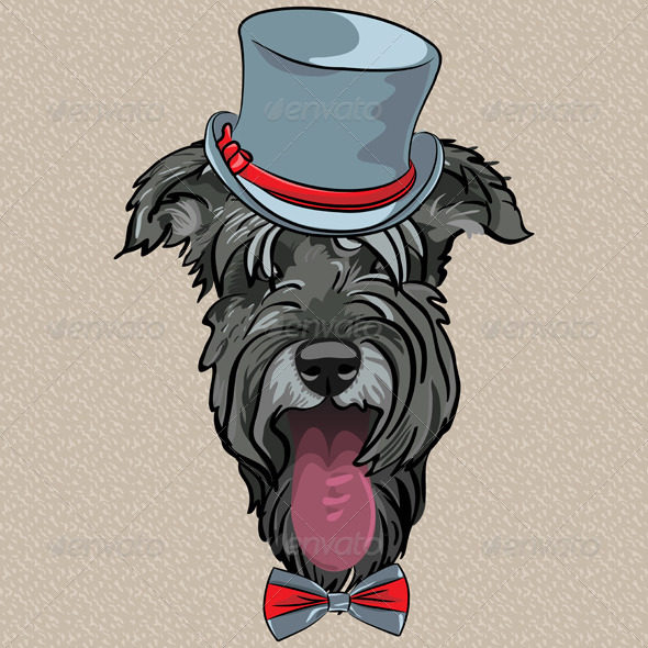 Hipster Dog Schnauzer - Animals Characters