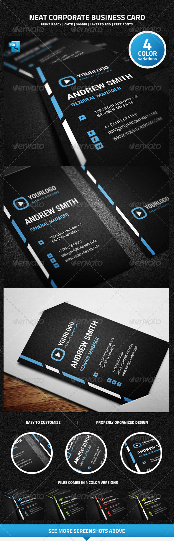Neat Corporate Business Card - 26 - Corporate Business Cards