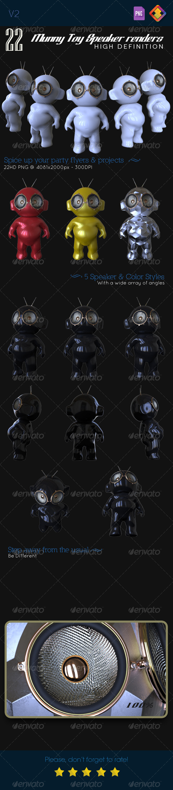 Munny Toy Speakers V.2 - Characters 3D Renders