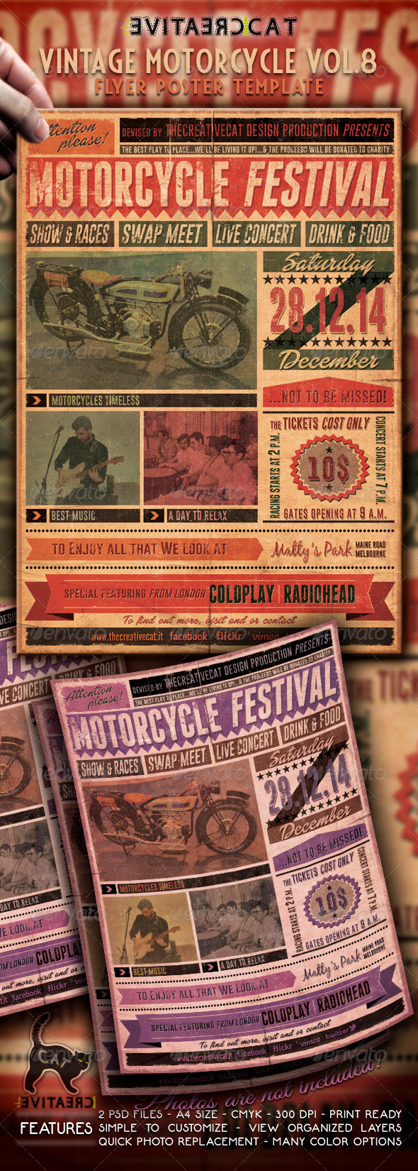 Vintage Motorcycle Flyer/Poster Vol. 8 - Events Flyers