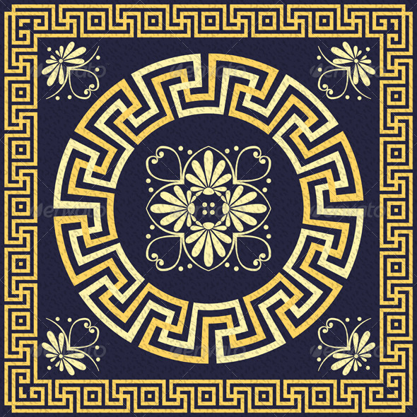 Vector Vintage Gold Greek Ornament - Patterns Decorative
