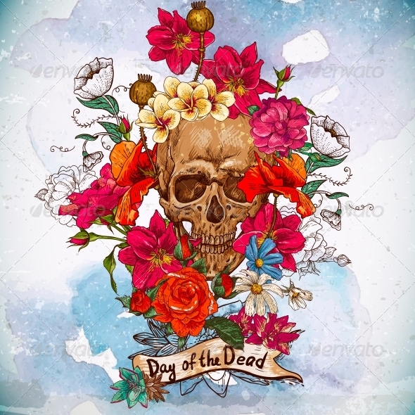 skull and flowers day of the dead by depiano graphicriver