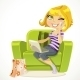 Girl Sitting in Chair Talking on Phone - GraphicRiver Item for Sale