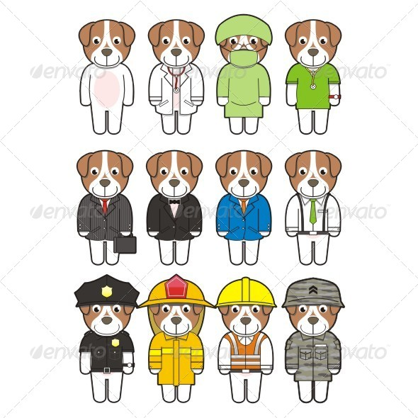 Puppies with Suit and Uniforms - Characters Vectors
