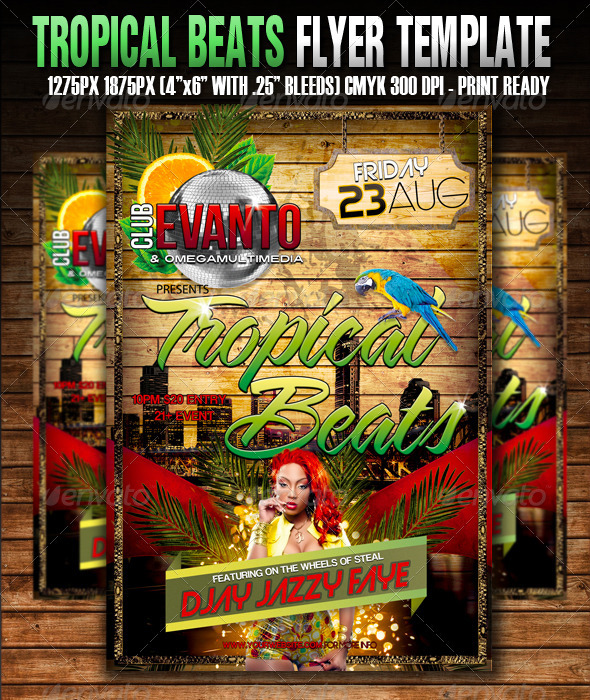 Tropical Beats Flyer Template - Clubs & Parties Events