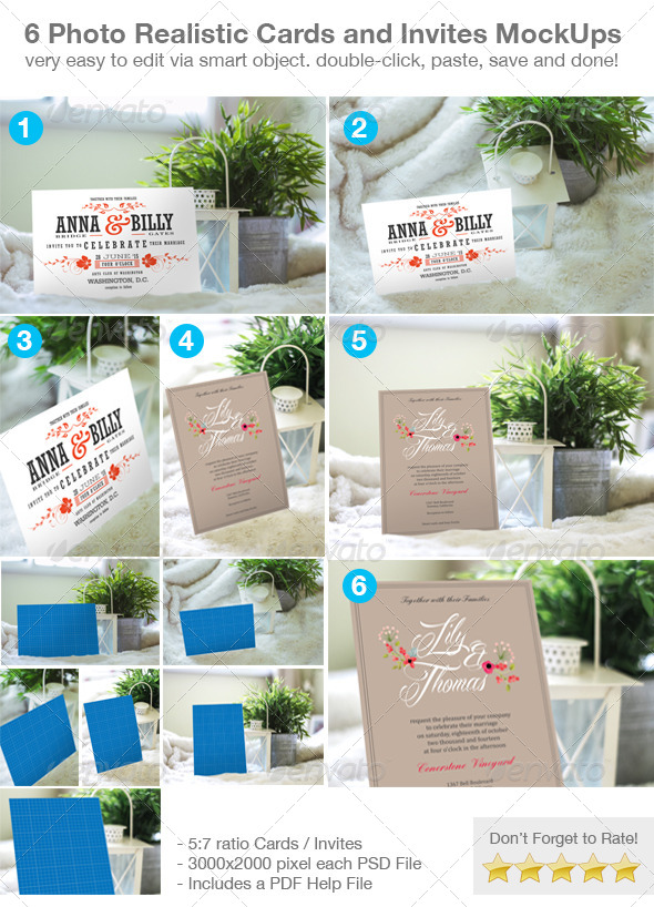 6 Photo Realistic Cards and Invites Mock-Ups - Print Product Mock-Ups