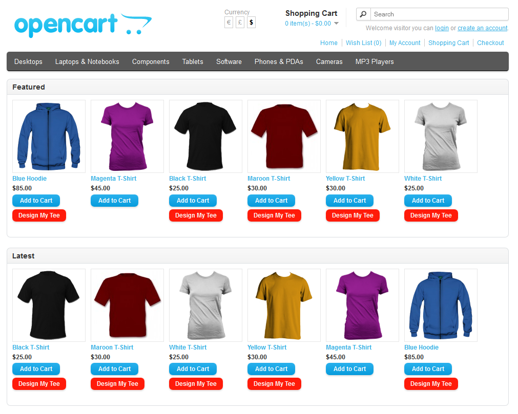 T shirt design jquery - Opencart Custom T Shirt Design