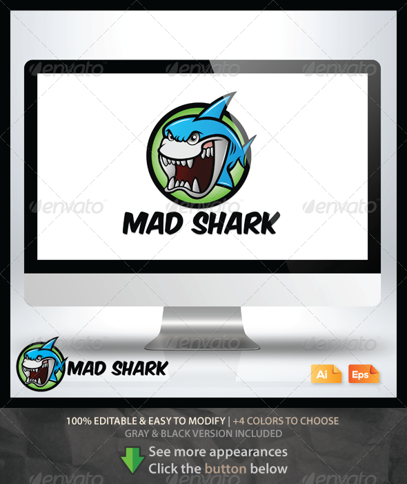 Mad Shark - Animals Logo Templates