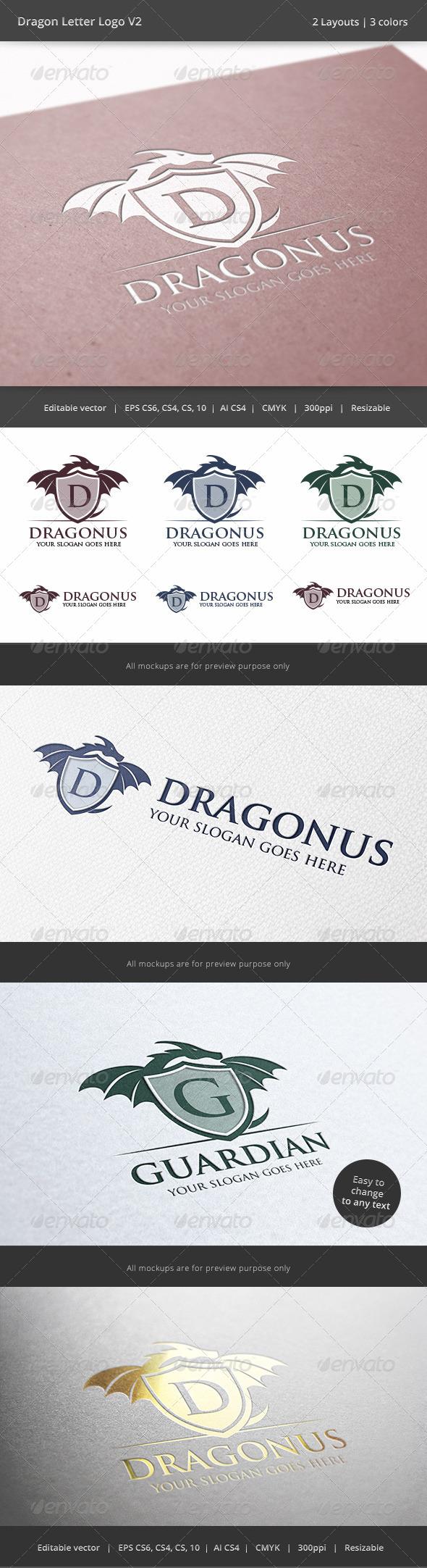 Dragon Letter V2 Logo - Crests Logo Templates