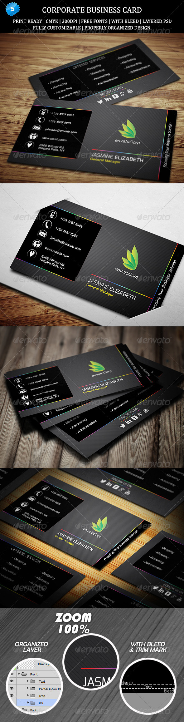 Corporate Business Card 5 - Business Cards Print Templates