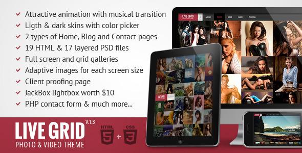 LIVE GRID – Responsive Interactive HTML Portfolio