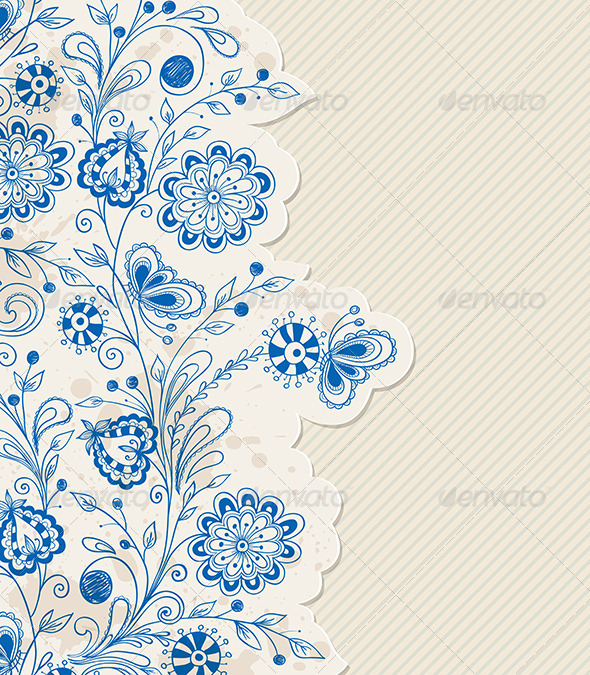 Blue Hand Drawn Flowers - Flowers & Plants Nature