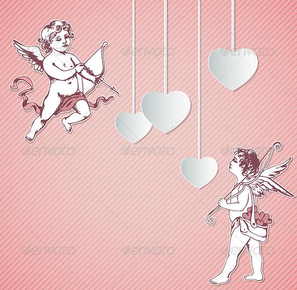 Valentine Background with Cupids - Valentines Seasons/Holidays