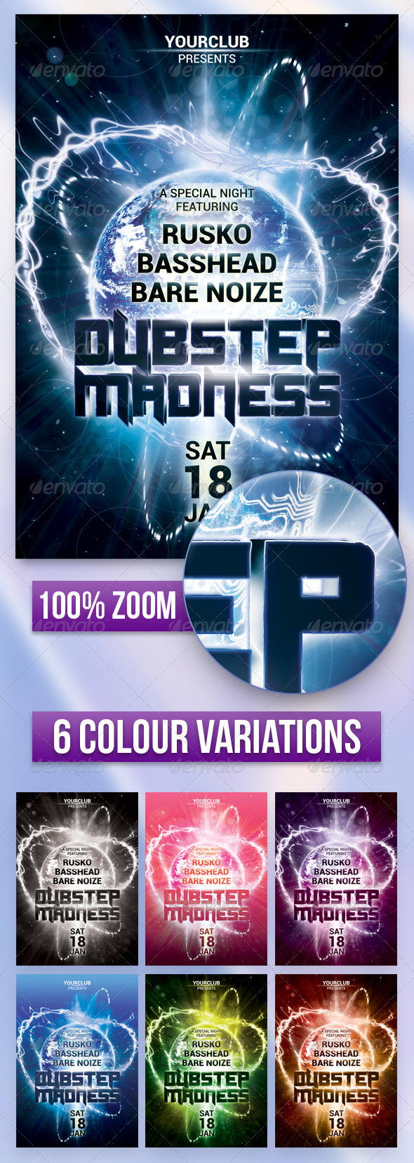 A5 Dubstep Madness Club Flyer / Poster 7 in 1 - Events Flyers