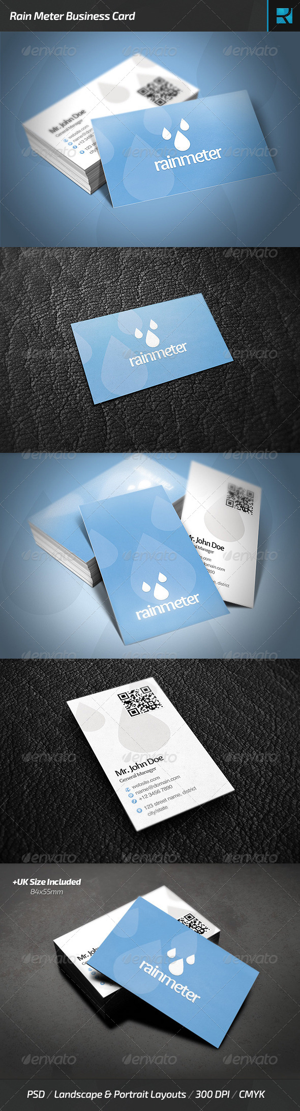 Rain Meter Business Card - Industry Specific Business Cards