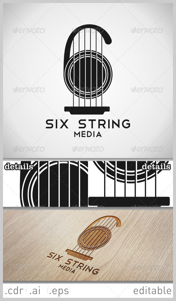 Six String Media Logo - Numbers Logo Templates