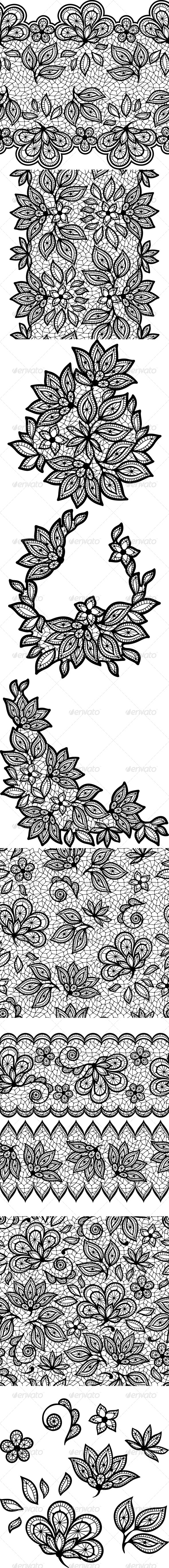 Black Lace Floral Designs and Seamless Patterns. - Flourishes / Swirls Decorative