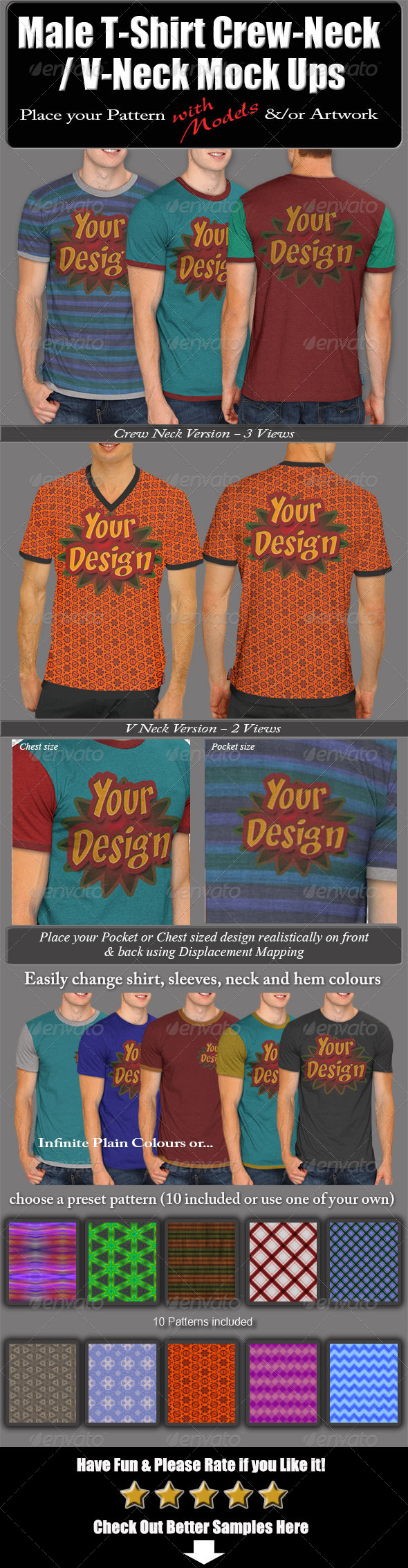Male T-Shirt Crew-Neck/V-Neck Mock Ups - T-shirts Apparel