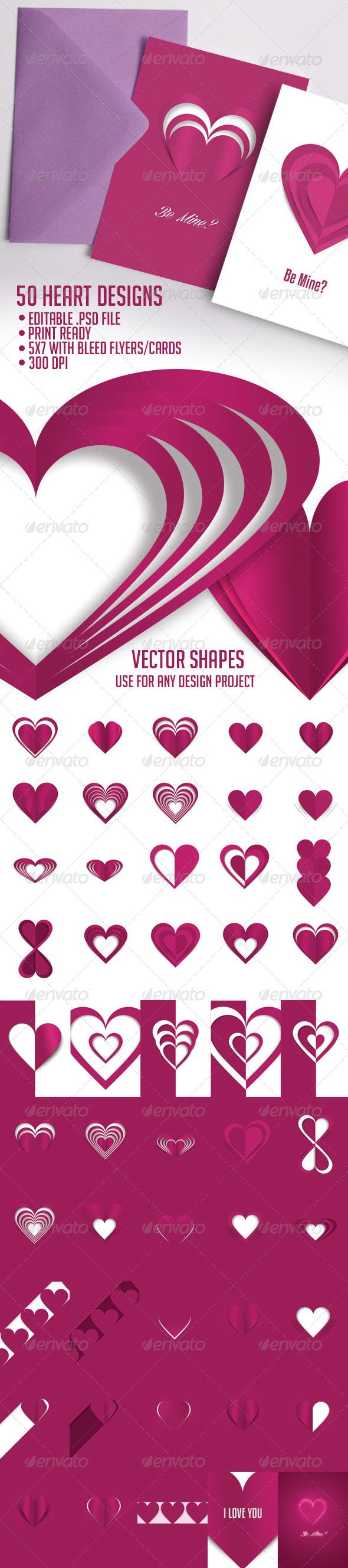 50 Heart Styles - Decorative Symbols Decorative