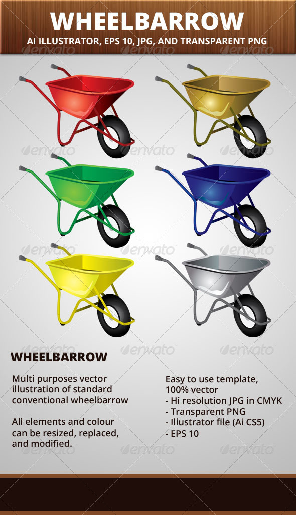 Wheelbarrow Vector Illustration - Man-made Objects Objects