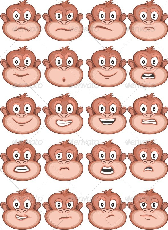 Monkey Expressions - Animals Characters