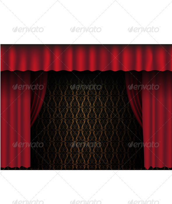 Red Theatre Curtain  - Backgrounds Decorative