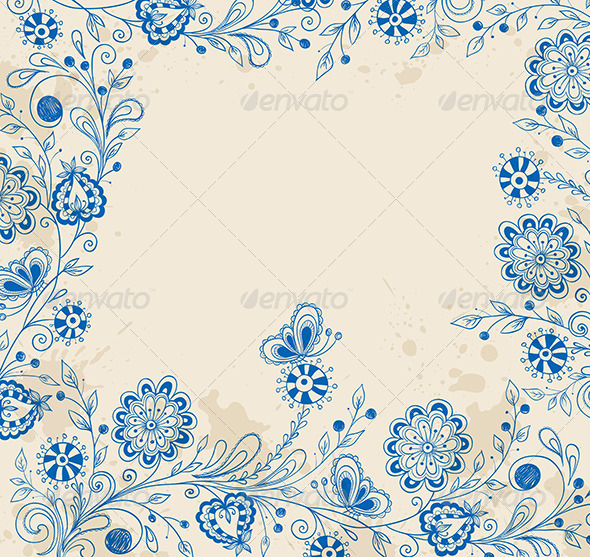 Decorative Background with Blue Flowers - Flowers & Plants Nature